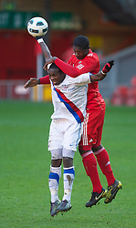 LIVERPOOL, ENGLAND - Saturday, January 8, 2011: Liverpool's Stephen Sama and Crystal Palace's Ibra Sekajja during the FA Youth Cup 4th Round match at Anfield. (Pic by: David Rawcliffe/Propaganda)