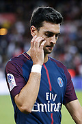 Javier Matias Pastore (psg) left the playground at the end of the game during the French championship L1 football match between Paris Saint-Germain (PSG) and Toulouse Football Club, on August 20, 2017, at Parc des Princes, in Paris, France - Photo Stephane Allaman / ProSportsImages / DPPI