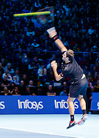 Tennis - 2019 Nitto ATP Finals at The O2 - Day Seven<br /> <br /> Semi Finals: Stefanos Tsitsipas (Greece) Vs. Roger Federer (Switzerland) <br /> <br /> Roger Federer (Switzerland) serves (slow Shutter)<br /> <br /> COLORSPORT/DANIEL BEARHAM<br /> <br /> COLORSPORT/DANIEL BEARHAM