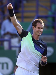 Great Britain's Andy Murray celebrates beating Switzerland's Stan Wawrinka during day two of the Nature Valley International at Devonshire Park, Eastbourne.