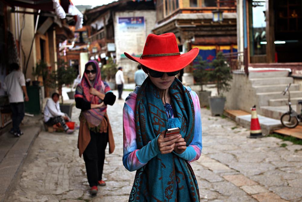 Tourists in Shangri-la, Yunnan, China; September, 2013.