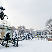 Statue of President Andrew Jackson in Lafayette Park across from the White House in the snow. With this statue in the center of the park, it used to be known as Jackson Park.