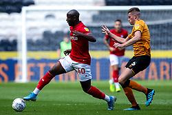 Benik Afobe of Bristol City takes on Reece Burke of Hull City - Mandatory by-line: Robbie Stephenson/JMP - 24/08/2019 - FOOTBALL - KCOM Stadium - Hull, England - Hull City v Bristol City - Sky Bet Championship