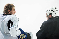 Anze Kopitar, NHL star and player of Los Angeles Kings and his brother Gasper Kopitar during practice session and press conference before departure to USA, on September 3, 2014 in Ledna dvorana Bled, Slovenia. Photo by Vid Ponikvar  / Sportida.com