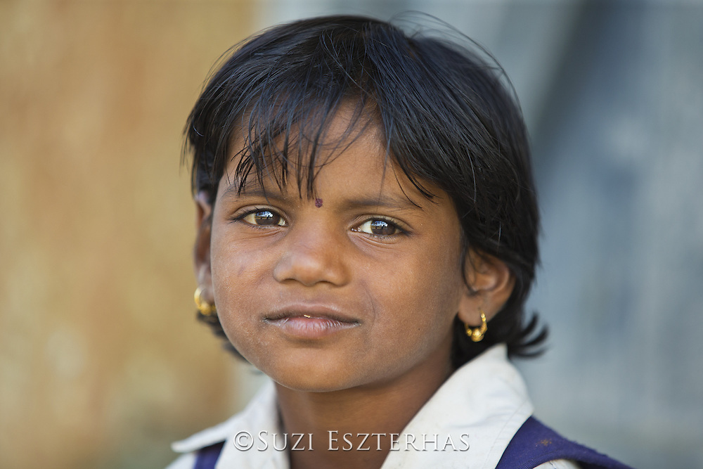 School girl at Rancha village at the border of Bandhavgarh National Park, India