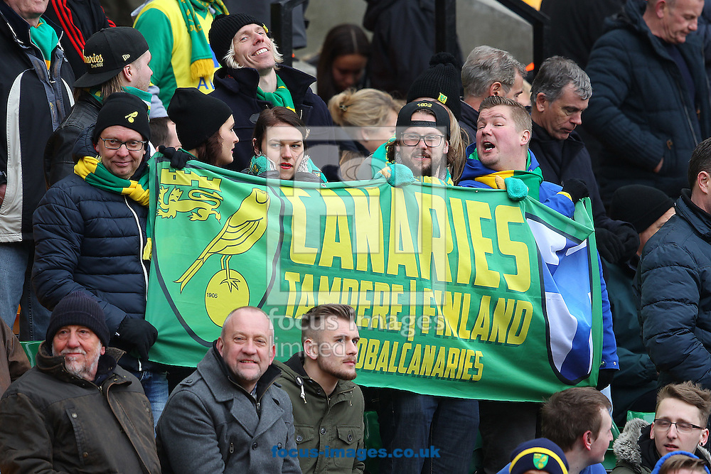 Canary fans from Finland display their banner before the Sky Bet Championship match at Carrow Road, Norwich<br /> Picture by Paul Chesterton/Focus Images Ltd +44 7904 640267<br /> 21/03/2015