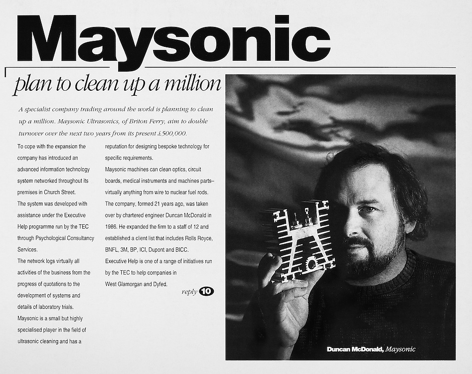 Duncan McDonald of Maysonic Ultrasonics, commissioned by BUSINESS FILE MAGAZINE.
