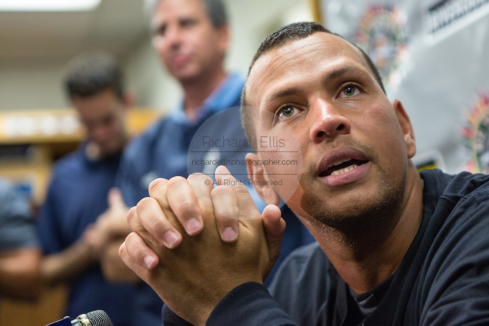 New York Yankees Alex Rodriguez during a press conference before appearing in the first game since hip surgery with the minor league Charleston RiverDogs at Joseph P. Riley Jr. Stadium July 2, 2013 in Charleston, South Carolina.