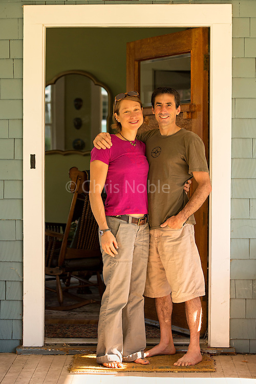 Professional climber Lisa Rands and husband Wills Young at their home in Bishop California