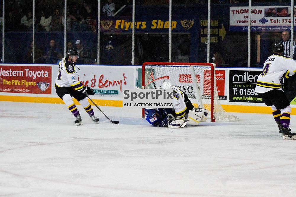 Fife Flyers V Manchester Storm, Elite Ice Hockey League, 14 November2015Fife Flyers V Manchester Storm, Elite Ice Hockey League, 14 November2015<br /> <br /> FIFE FLYERS #39 GOES CRASHING INTO MANCHESTER STORM NETMINDER #40 ZANE KALEMBA