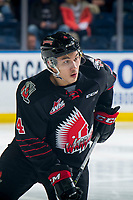 KELOWNA, BC - JANUARY 16: Jett Woo #4 of the Moose Jaw Warriors skates against the Kelowna Rockets at Prospera Place on January 16, 2019 in Kelowna, Canada. (Photo by Marissa Baecker/Getty Images)