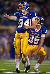 October 10, 2009; San Jose, CA, USA;  San Jose State Spartans kicker Tyler Cope (34) kicks a field goal against the Idaho Vandals during the fourth quarter at Spartan Stadium.  Idaho won 29-25.