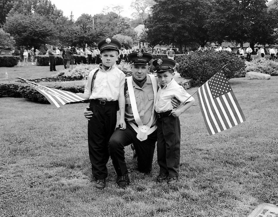 Firefighter with Sons, Memorial Day, Marblehead Ma