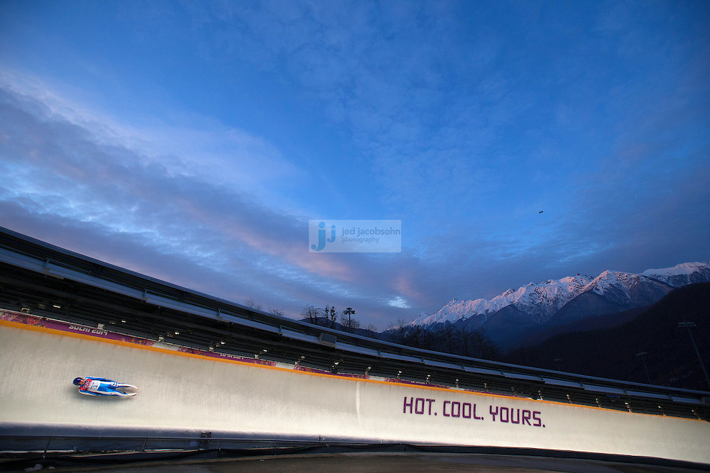 Luge: 2014 Winter Olympics: Dominik Fischnaller of Italy makes a run during the Luge Men's Singles on Day 1 of the Sochi 2014 Winter Olympics at the Sliding Center Sanki on February 8, 2014 in Sochi, Russia (Photo by Jed Jacobsohn /Sports Illustrated)