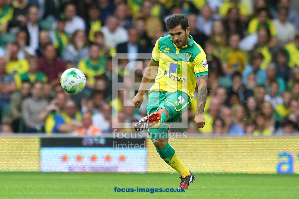 Bradley Johnson of Norwich in action during the Sky Bet Championship match at Carrow Road, Norwich<br /> Picture by Paul Chesterton/Focus Images Ltd +44 7904 640267<br /> 16/08/2014