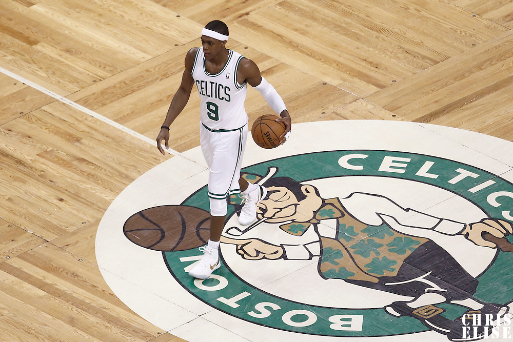 01 June 2012: Boston Celtics point guard Rajon Rondo (9) brings the ball upcourt during the first quarter of Game 3 of the Eastern Conference Finals playoff series, Heat vs Celtics, at the TD Banknorth Garden, Boston, Massachusetts, USA.