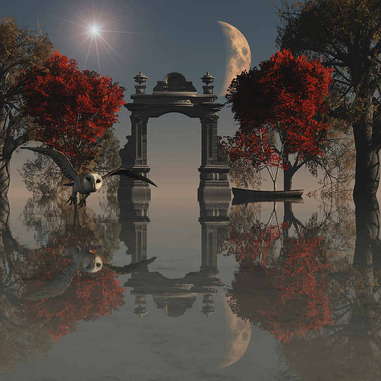 Surrealism is one of the most unique forms of art as everyone can interpret it in their own way but the true meaning lies with the artist. This beautiful painting incorporates all of the features of a truly surreal environment from the glowing starburst and emerging moon to the bright red leaves that have yet to fall from the trees. The attention to detail with reflections from all of the elements in the painting is what really sets this piece apart as it is so intricate you will always find something new to look at. Also, the hunting owl fits perfectly into the landscape, searching for its prey in this magical and surreal environment. .<br />
