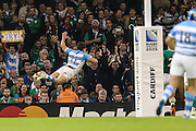 Juan Imhoff of Argentina scores a try for his team during the Rugby World Cup Quarter Final match between Ireland and Argentina at Millennium Stadium, Cardiff, Wales on 18 October 2015. Photo by Shane Healey.