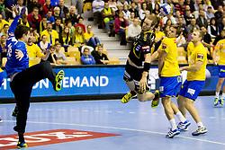 Matevz Skos #16 of RK Celje Pivovarna Lasko vs Kim Ekdahl Du Rietz #60 of Rhein-Neckar Lowen during handball match between RK Celje Pivovarna Lasko (SLO) vs Rhein-Neckar Lowen (GER) in 3rd Round of Group A of EHF Champions League 2013/14 on October 12, 2013 in Arena Zlatorog, Celje, Slovenia. (Photo By Urban Urbanc / Sportida)