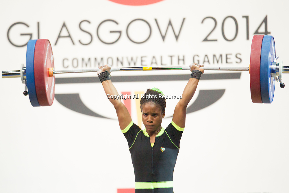 25.07.2014. Glasgow, Scotland. Glasgow Commonwealth Games. Women's 53kg Final. Nigeria's Chika Amalaha who won the event, during her winning lift