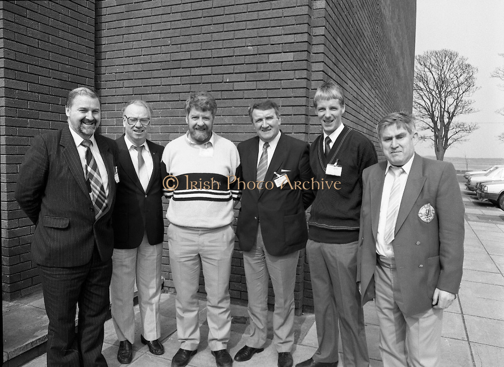 GAA Annual Congress At Malahide.   (R99)..1989..01.04.1989..04.01.1989..1st April 1989..The annual GAA Congress was held this week at the Grand Hotel, Malahide,Dublin. The congress sets out GAA policy for the coming year...Pictured attending the congress were;Brendan Larkin,Cork; Junior Murphy,Kerry; Eamon O'Sullivan,Kerry; Michael Weekes,Limerick; Jerry Hartigan,Limerick and John Coffey,Kerry.