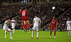 MILTON KEYNES, ENGLAND - Wednesday, September 25, 2019: Liverpool's Ki-Jana Hoever scores the second goal with a header during the Football League Cup 3rd Round match between MK Dons FC and Liverpool FC at Stadium MK. (Pic by David Rawcliffe/Propaganda)
