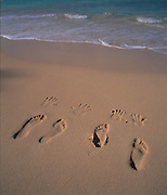 Foot Prints in Sand, Beach, Hawaii<br />