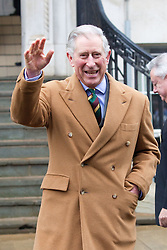 © Licensed to London News Pictures. 24/01/2012. Barnsley, UK. Prince Charles waves to and greets onlookes during his visit to Barnsley, following his visit to Huddersfield University.Photo credit : Joel Goodman/LNP