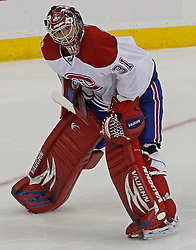 Dec 16, 2009; Newark, NJ, USA; Montreal Canadiens goalie Carey Price (31) relaxes during the third period of their game against the New Jersey Devils at the Prudential Center. The Devils won 2-1.