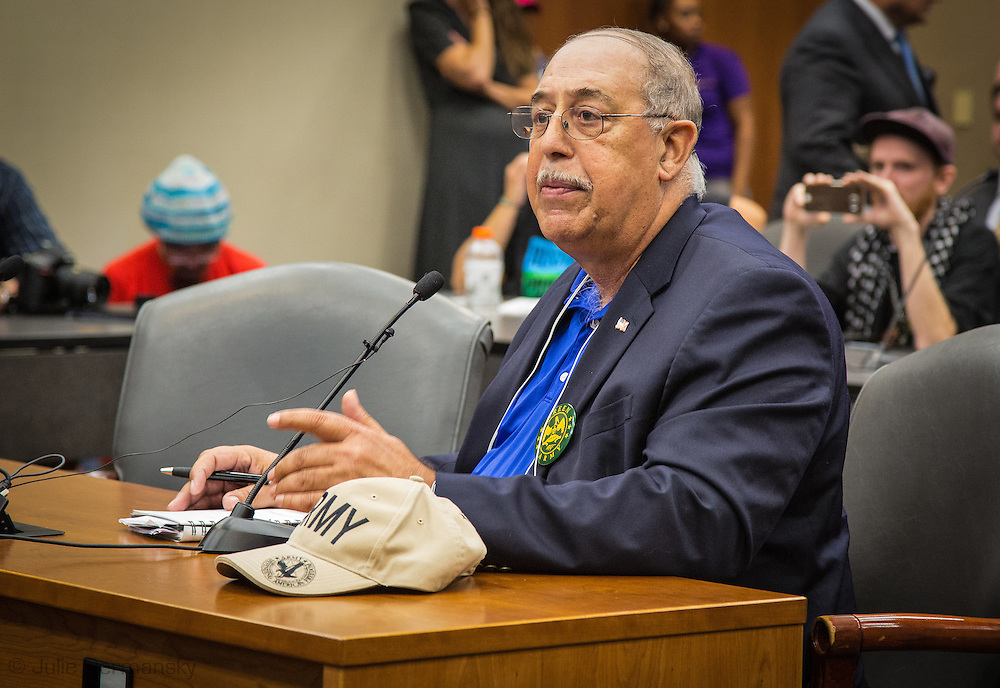 Retired LT General, Russel Honoré, speaking at the pipeline permit hearing on behalf of GreenARMY.