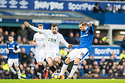 Everton (18)Gylfi Sigurðsson, Crystal Palace #18 James McArthur during the Premier League match between Everton and Crystal Palace at Goodison Park, Liverpool, England on 10 February 2018. Picture by Sebastian Frej.