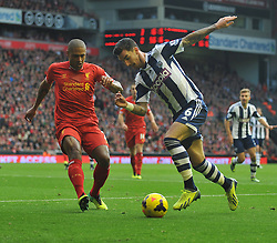 West Bromwich Albion's Liam Ridgewell looks to take on Liverpool's Glen Johnson - Photo mandatory by-line: Alex James/JMP - Tel: Mobile: 07966 386802 26/10/2013 - SPORT - FOOTBALL - Anfield Stadium - Liverpool - Liverpool v West Brom - Barclays Premier League