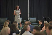 Erin Fischer of the Leadership and Training Studio speaks at the 2016 Schey Sales Symposium held in Baker Center on November 3, 2016.