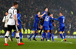 Leicester City celebrate Wes Morgan of Leicester City scoring a last minute equaliser against Derby County - Mandatory by-line: Robbie Stephenson/JMP - 27/01/2017 - FOOTBALL - iPro Stadium - Derby, England - Derby County v Leicester City - Emirates FA Cup fourth round