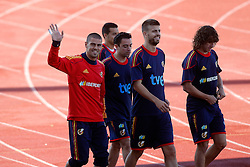10.06.2010, Sportanlage, Potchefstroom, RSA, FIFA WM 2010, Training Spanien im Bild Spain's Victor Valdes, Pedro Rodriguez,Xavi Hernandez, Gerard Pique and Carles Puyol, EXPA Pictures © 2010, PhotoCredit: EXPA/ Alterphotos/ Acero / SPORTIDA PHOTO AGENCY
