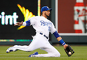 Kansas City Royals left fielder Paulo Orlando is unable to catch a short fly ball hit by Houston Astros designated hitter Evan Gattis in the fourth inning of a baseball game at Kauffman Stadium in Kansas City, Mo., Friday, July 24, 2015. Gattis singled on the play. (AP Photo/Colin E. Braley)
