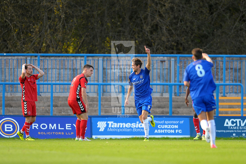 TELFORD COPYRIGHT MIKE SHERIDAN 20/10/2018 - Ryan Brooke of Curzon (formerly of AFC Telford) scores to make it 0-1 during the Vanarama Conference North fixture between Curzon Ashton and AFC Telford United at the Tameside Stadium.