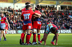 Dean Hammond of Worcester Warriors celebrates with teammates after scoring a try - Mandatory by-line: Robbie Stephenson/JMP - 12/11/2017 - RUGBY - Twickenham Stoop - London, England - Harlequins v Worcester Warriors - Anglo-Welsh Cup