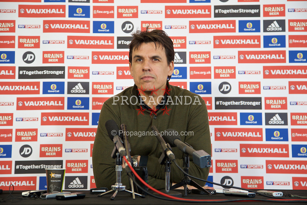 NEWPORT, WALES - Wednesday, March 18, 2015: Wales' manager Chris Coleman during a press conference at the Evans Halshaw Vauxhall dealership to announce the squad for ahead of the UEFA Euro 2016 qualifying match against Israel. (Pic by David Rawcliffe/Propaganda)