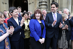 Labour leader Ed Miliband and Labour MP's welcome Emma Lewell-Buck (centre)  the newly elected Labour MP for South Shields, at Westminster,  Wednesday, 8th May 2013.  Photo by: Stephen Lock / i-Images