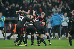 23.11.2011, BayArena, Leverkusen, Germany, UEFA CL, Gruppe E, Bayer 04 Leverkusen (GER) vs Chelsea FC (ENG), im Bild Torjubel/ Jubel nach dem 2:1 durch Manuel Friedrich (Leverkusen #5) // during the football match of UEFA Champions league, group E, between Bayer Leverkusen (GER) and FC Chelsea (ENG) at BayArena, Leverkusen, Germany on 2011/11/23.EXPA Pictures © 2011, PhotoCredit: EXPA/ nph/ Mueller..***** ATTENTION - OUT OF GER, CRO *****
