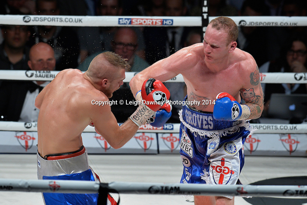 George Groves defeats Christopher Rebrasse for the EBU (European) Super Middleweight Title & Vacant WBC Super Middleweight Title at the SSE Wembley Arena, London on the 20th September 2014. Sauerland Promotions. Credit: Leigh Dawney Photography.