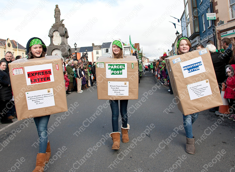17.03.12<br /> Taking part in the Kilrush St. Patricks Day Parade were, Ellen Bolton, Anna O'Dea and Emma Cahill<br /> . Picture: Alan Place/Press 22.