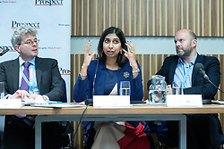 "© Licensed to London News Pictures . 01/10/2018. Birmingham, UK. Tom Clark of Prospect , Suella Braverman MP Parliamentary Under Secretary of State for the Department for Exiting the EU and Josh Hardie of the CBI . Prospect magazine fringe event titled "" Beyond tariffs where are our opportunities to boost trade post-Brexit "" , supported by Associated British Ports . Day 2 of the Conservative Party conference at the ICC in Birmingham . Photo credit: Joel Goodman/LNP"