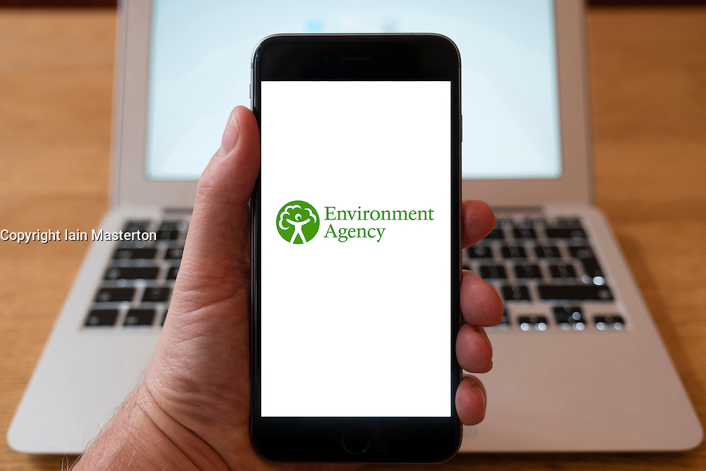 Using iPhone smartphone to display logo of The Environment Agency