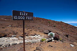 Elevation 10,000 feet sign near the summit of Haleakala, Haleakala National Park, Maui, Hawaii, United States of America
