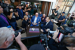 September 10, 2017 - Krakowiec, Poland - In an attempt to reenter Ukraine a media frenzy follows ahead of a press conference in Rzesow by former Georgian president Mikhail Saakashvili when he is joined by Ukraine MP Yulia Timoshenko and EU MP Jacek Saryusz-Wolski on September 10, 2017. Mister Saakashvili has been stripped of his Ukrainian citizenship in July by president Poroshenko after accusing the later of abetting corruption in the country. Since then he has been living in exile in Poland. (Credit Image: © Jaap Arriens/NurPhoto via ZUMA Press)