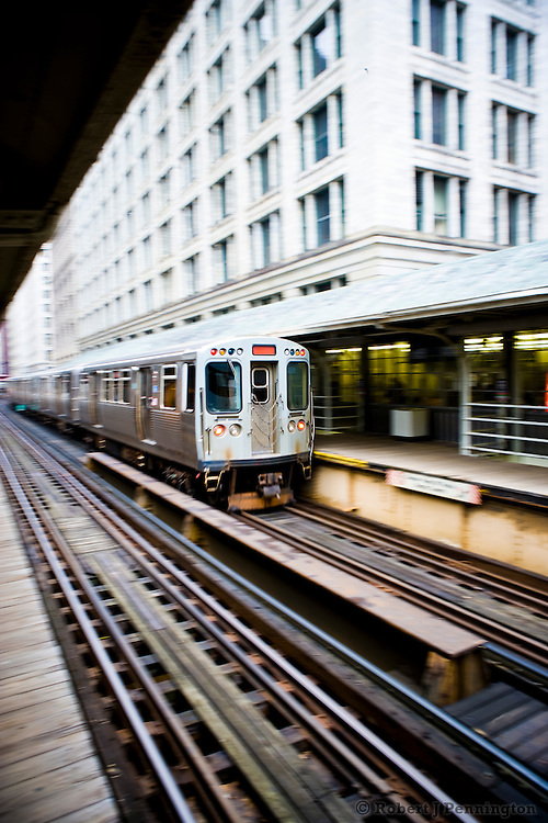 The elevated train on the loop in Chicago, Illinois.