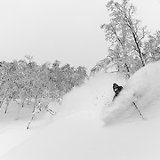 Jake Cohn gets deep in Rusutsu, Japan.