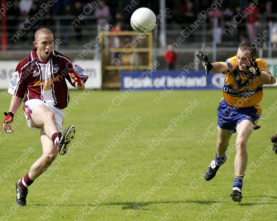 Rory Donnelly goes for the block during Clare's championship clash against Westmeath on Sunday.<br />
